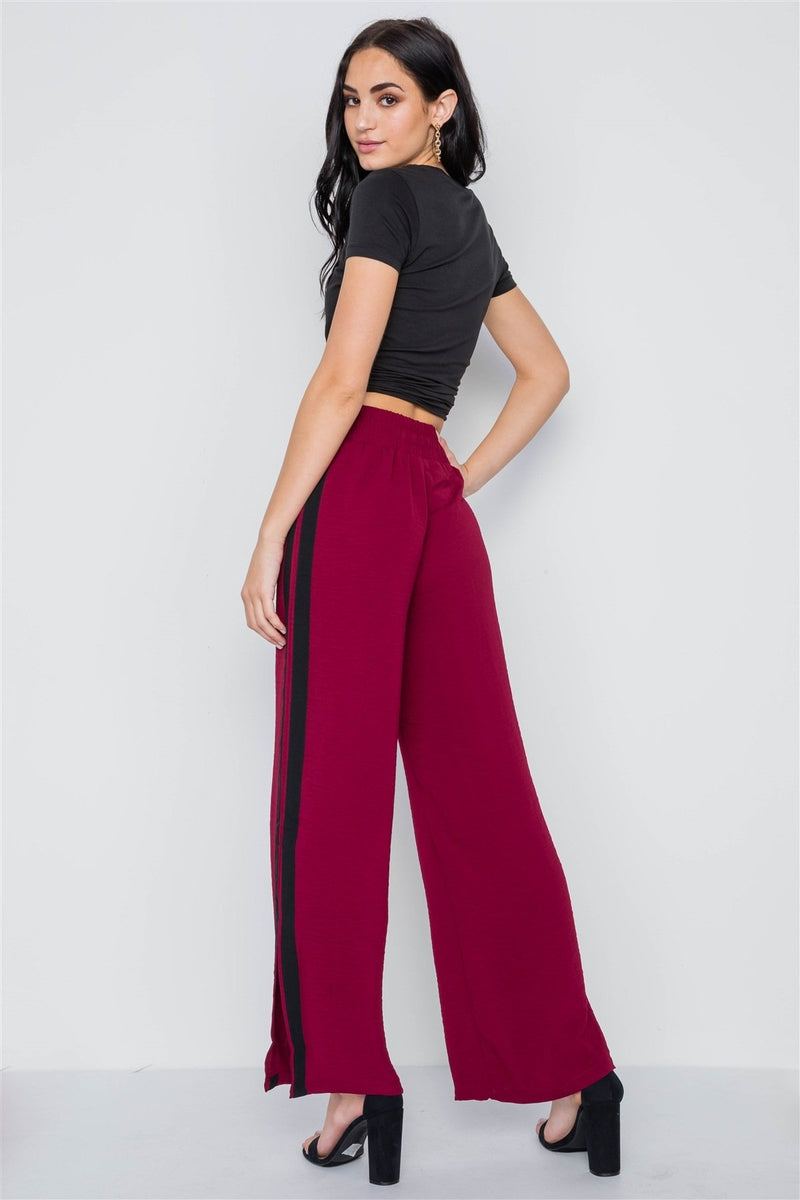 Contrast Trim Side Slit Wide Leg Casual Pants - FashionKila.com