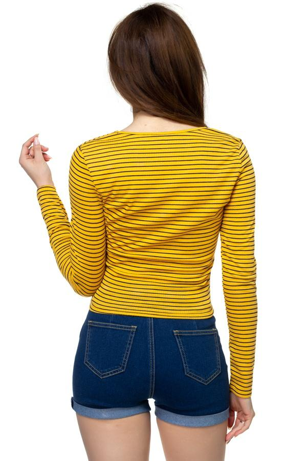 Long Sleeve Front Twist Shirt - FashionKila.com
