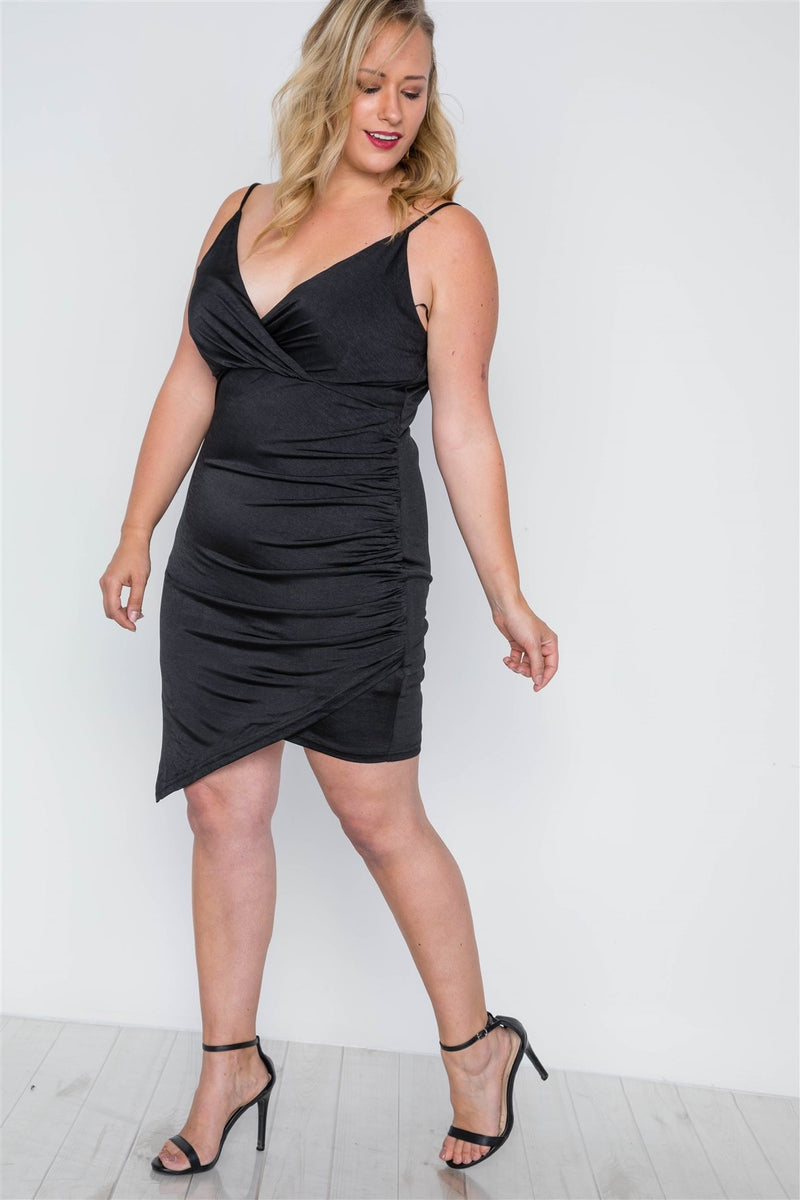 Plus Size Black Cami Surplice Bodycon Mini Dress - FashionKila.com