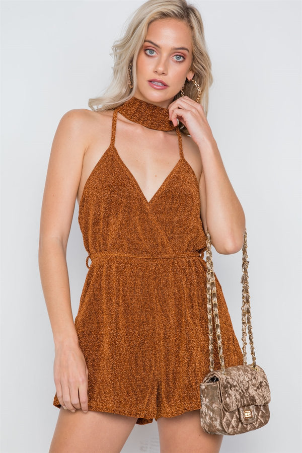 Mock Neck Cami Evening Romper - FashionKila.com