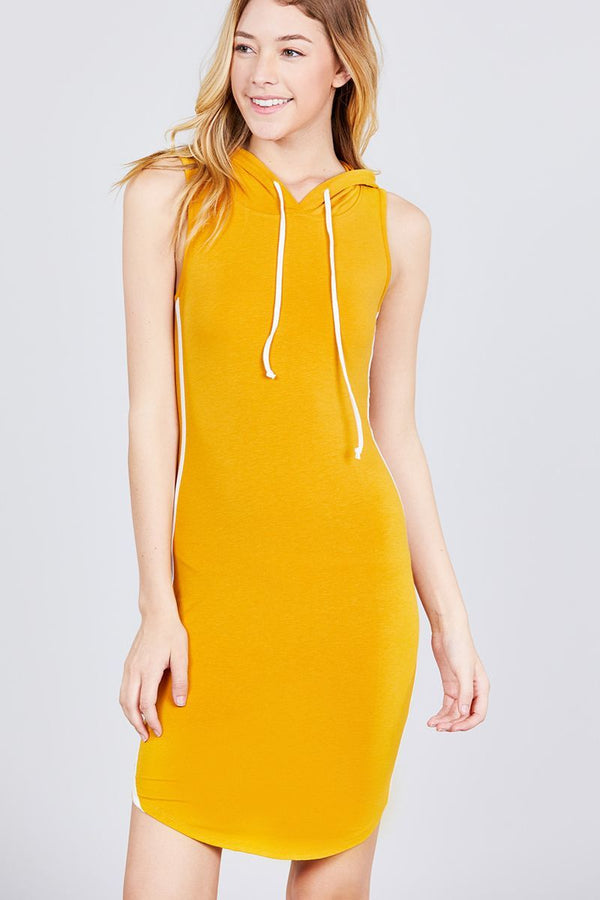 Sleeveless W/side Stripe Drawstring Hoodie dress - FashionKila.com