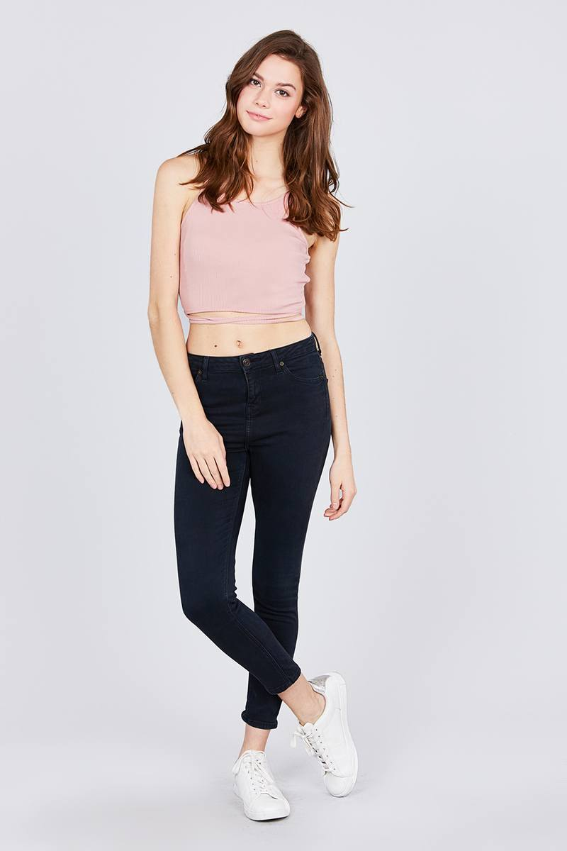Scoop Neck W/back Cross Strap Detail Waist Self Tie Ribbed Cotton Spandex Crop Top - FashionKila.com