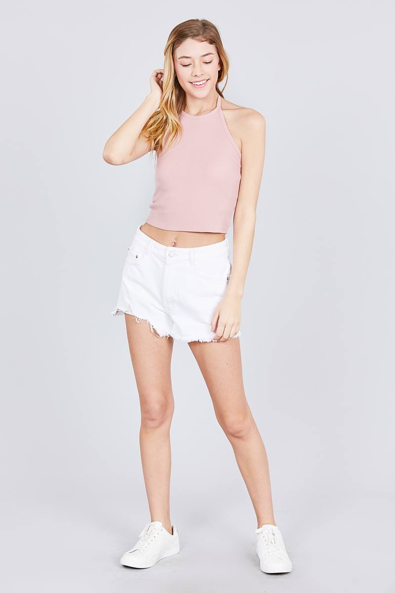 Halter Neck Cotton Spandex Rib Crop Top - FashionKila.com