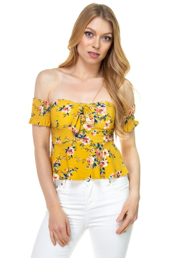 Floral Off Shoulder Crop Top - FashionKila.com