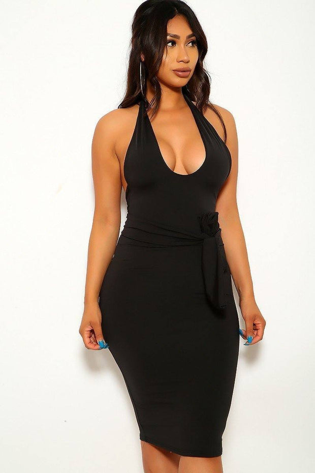 Solid, Stretchy Jersey Dress-Shopvoypa