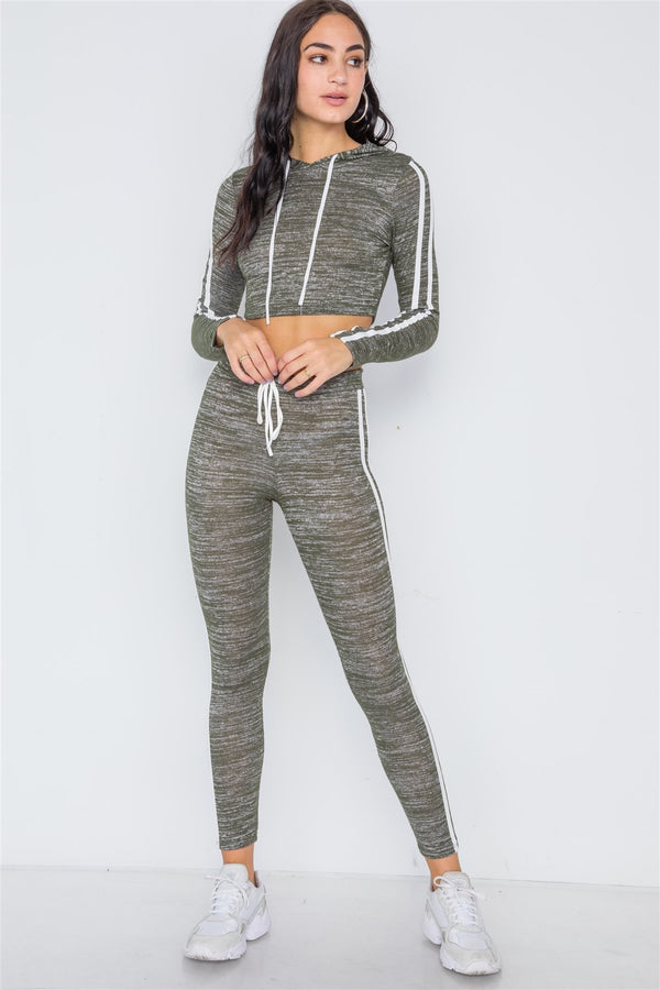 Green Heathered Crop Top Legging Two Piece Set - FashionKila.com