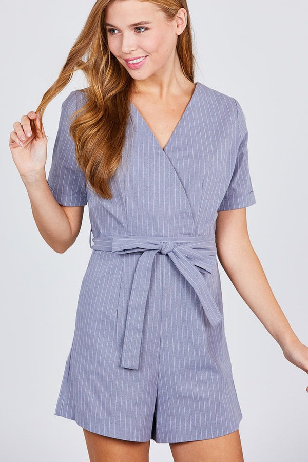Short Sleeve V-neck Surplice W/waist Belt Stripe Romper - FashionKila.com