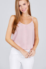 Front Button Cami Woven Top-Shopvoypa