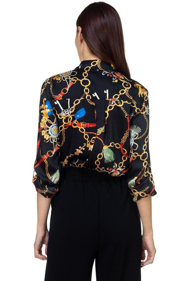 Long Sleeve Scarf Print Shirt - FashionKila.com