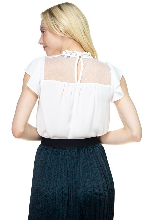 Mesh Lace Mock Neck Blouse - FashionKila.com