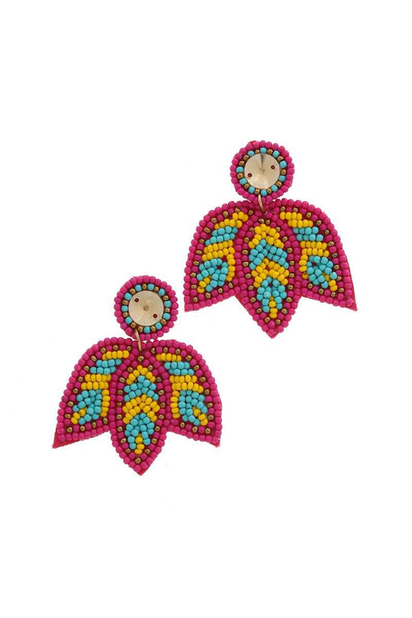 Seed Bead Post Drop Earring - FashionKila.com