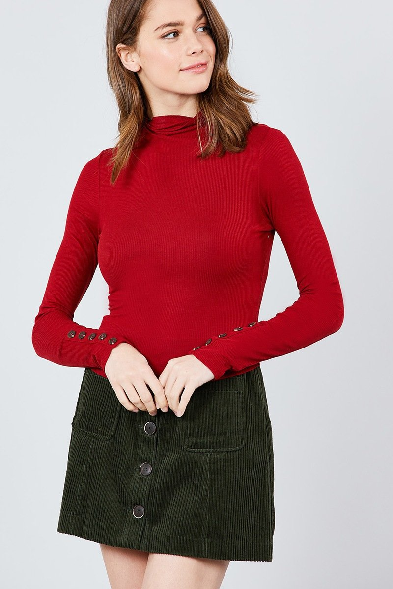 Long Sleeve W/button Detail Mock Neck Rib Knit Top - FashionKila.com