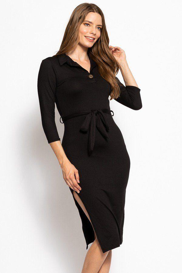 Midi Tee Dress With 3/4 Sleeves - FashionKila.com