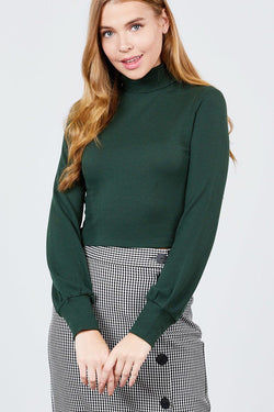 Long Sleeve Turtle Neck Rib Knit Top - FashionKila.com