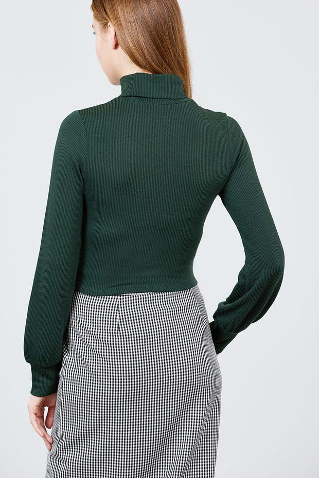 Long Sleeve Turtle Neck Rib Knit Top-Shopvoypa