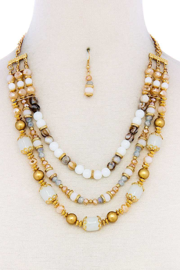 Multi Beaded Three Layer Necklace And Earring Set - FashionKila.com