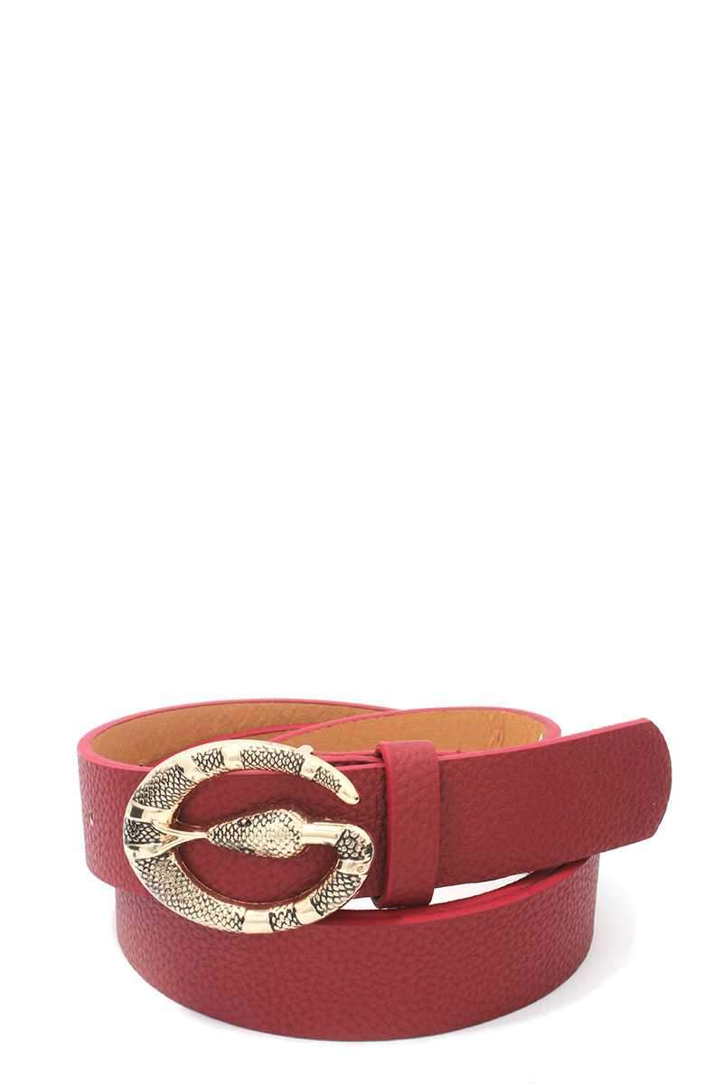Snake Buckle Pu Leather Belt - FashionKila.com