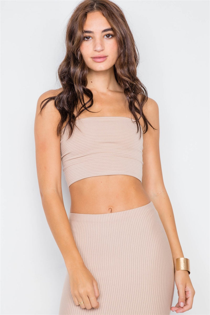 Pinstripe Lace-up Crop Top & Midi Skirt Set - FashionKila.com