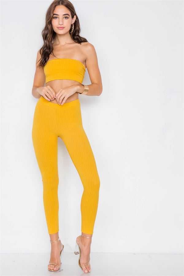 Ribbed Crop Tube Top & Ankle Legging Set - FashionKila.com