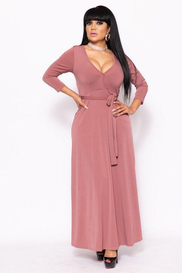 Solid, V-neck Maxi Dress - FashionKila.com