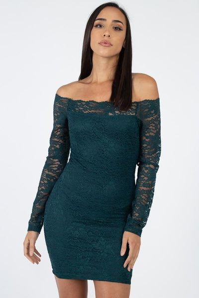 Floral Lace Off Shoulder Dress-Shopvoypa