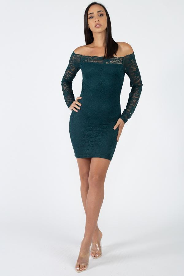 Floral Lace Off Shoulder Dress - FashionKila.com