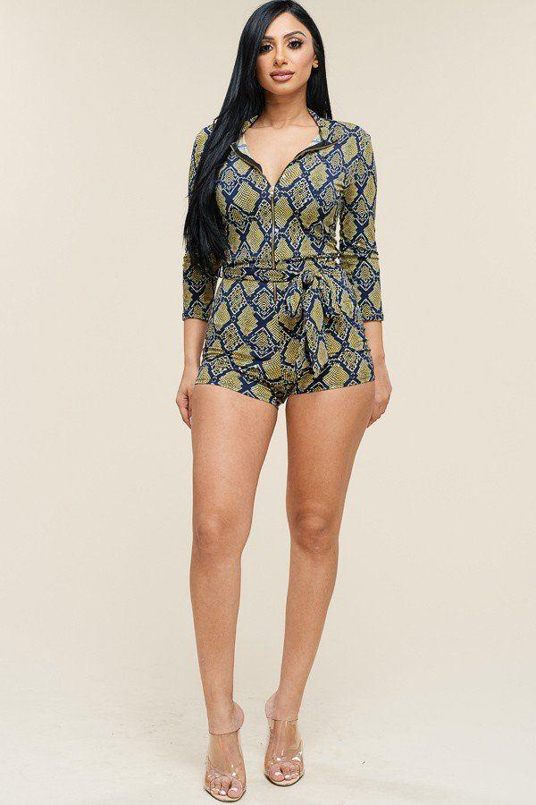 Multi Color Snake Print 3/4 Sleeve Romper - FashionKila.com