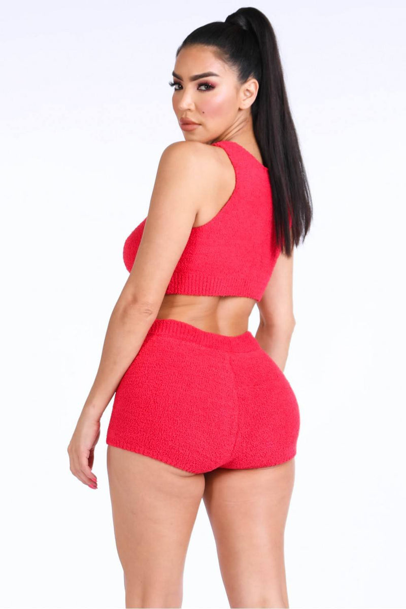Textured Knitted Tank Top Short Set - FashionKila.com