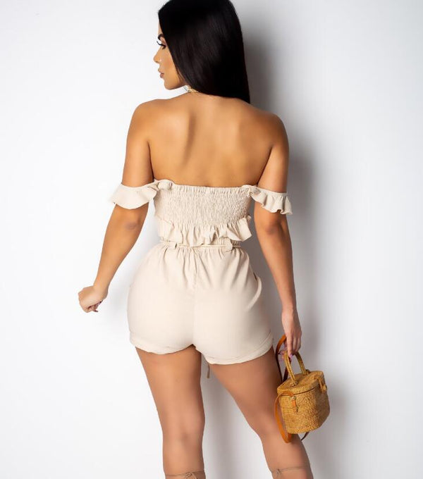 Off shoulder tube playsuit - FashionKila.com