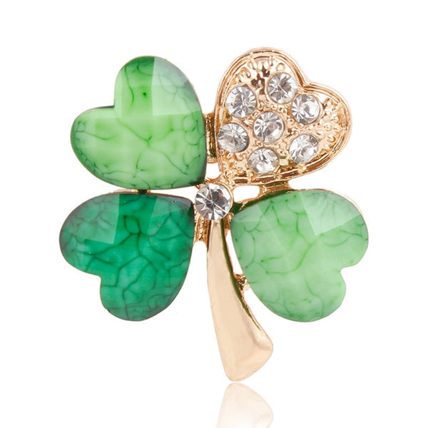 Crystal Green Four Leaf Clover Brooch - FashionKila.com