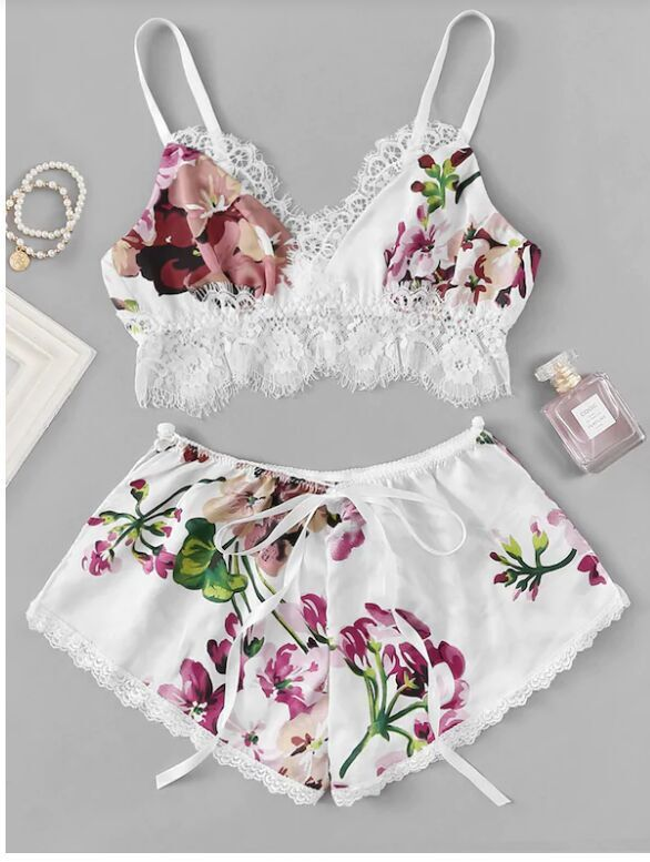 Multicolor lace trim floral print satin set - FashionKila.com