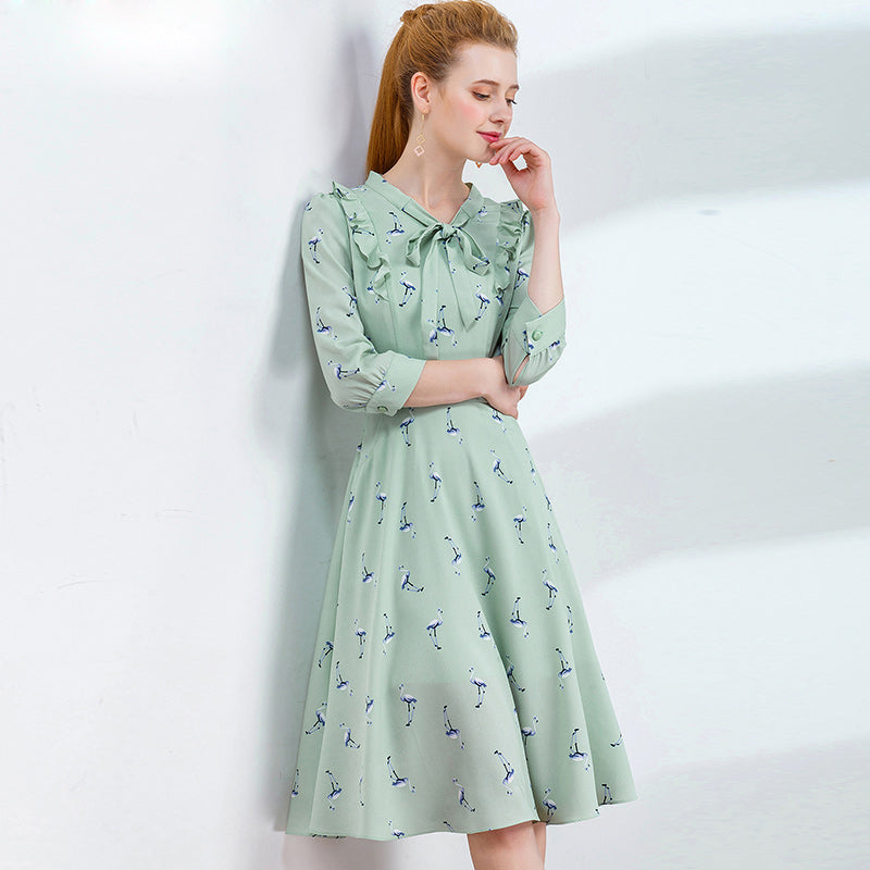HELIAR Green Chiffon Summer Dress - FashionKila.com