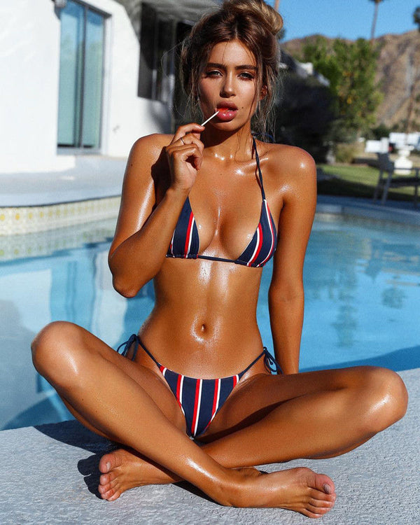 Push-up Low Waist Striped Bikini Set - FashionKila.com
