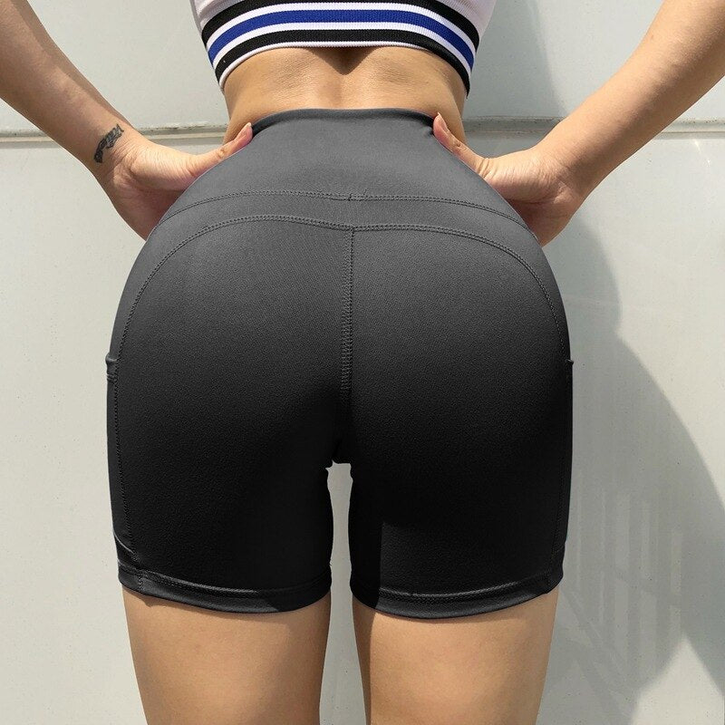 High waist yoga shorts pocket - FashionKila.com