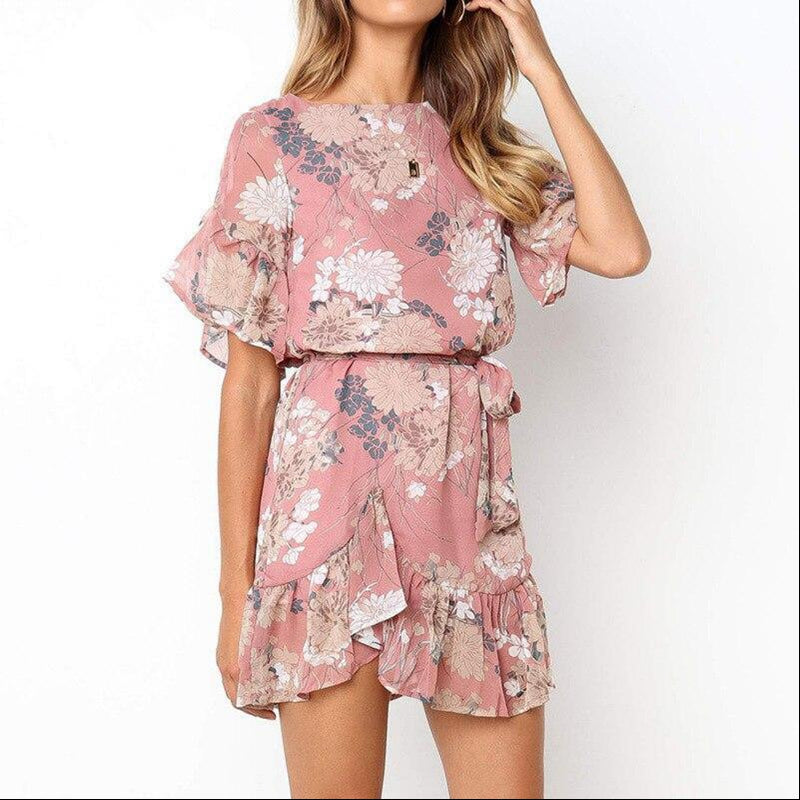 Bohemian printed floral crewneck mini dress - FashionKila.com