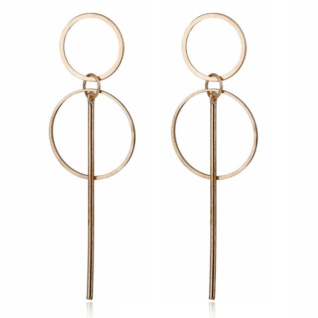 Big geometric round earrings - FashionKila.com