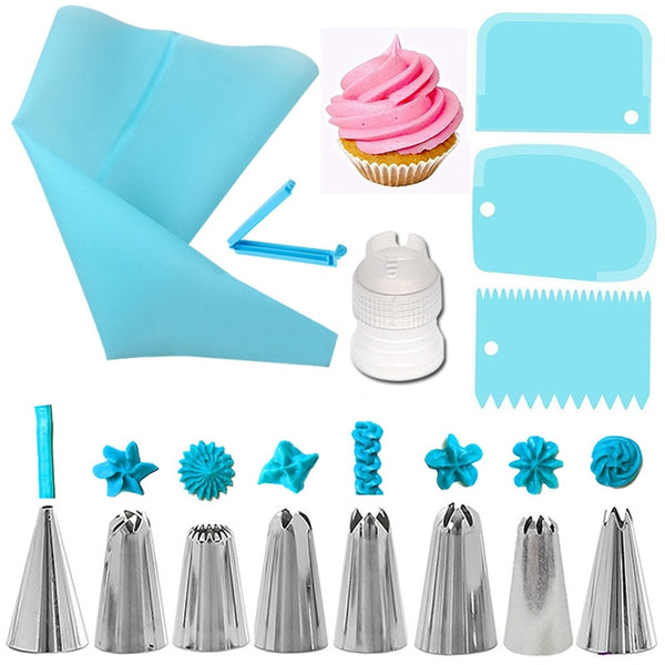 Silicone Pastry Bags Reusable,Deluxe Cupcake Decorating Tips 14Pcs/Set - FashionKila.com