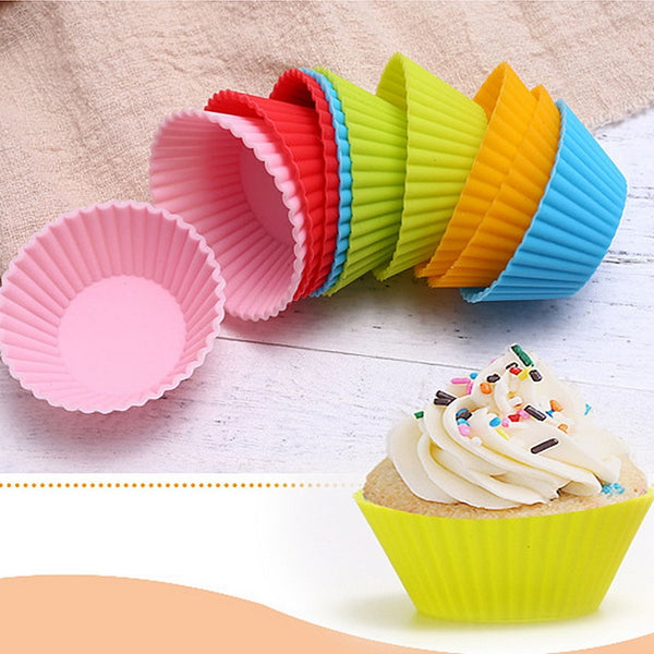 12 Pcs Baking Cup Liner Baking Molds Round Shape Silicone Cupcake Mould  Maker Mold Tray DIY Cake Decorating Tools