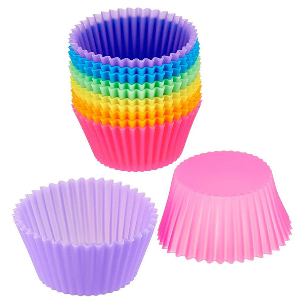 "Silicone Cupcake Baking Cups Molds 12 Pack Reusable Cupcake Holder Muffin Liners Air Fryer Cups For Party No Smell, Safe Food Grade (Size: Base-1.8"" E"