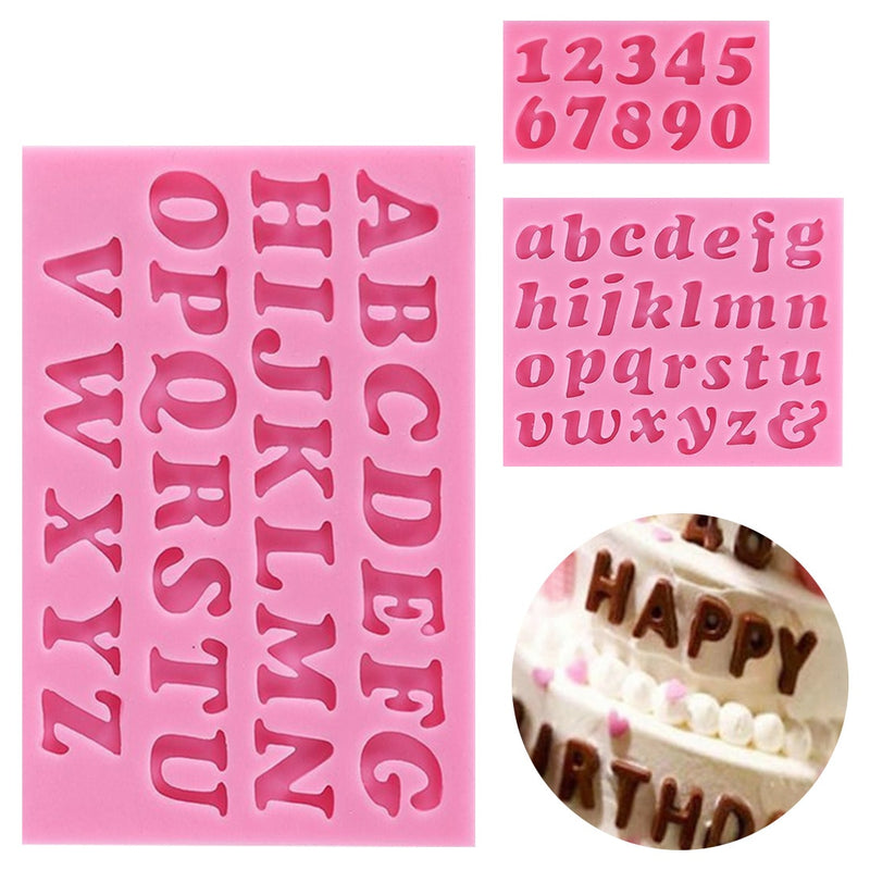 Silicone Candy Mold Alphabet Baking Cake Chocolate 3D 26 Letters Pink Mold - FashionKila.com