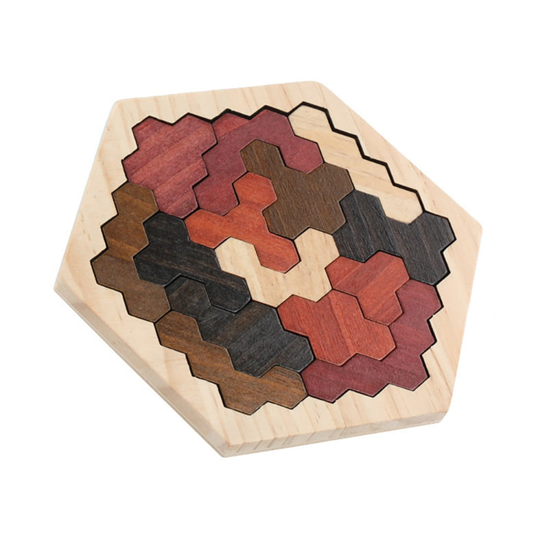 Coogam Wooden Hexagon Puzzle for Kid Adults - Shape Pattern Block - FashionKila.com