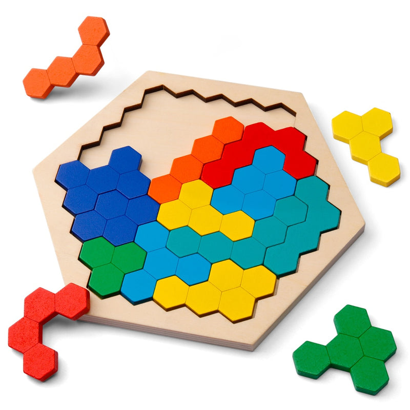 Wooden Puzzles for Kids Adults - Kids Puzzles Hexagon Shape Pattern Block for Kids Brain Teaser - FashionKila.com