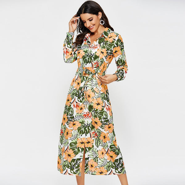 Long vintage floral print dress - FashionKila.com