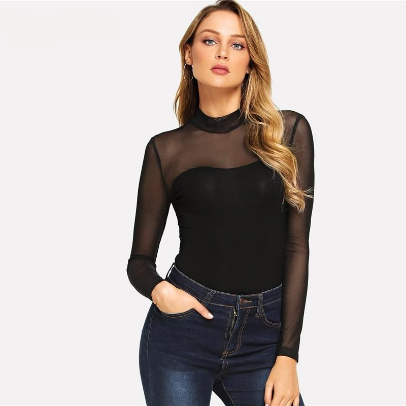 Mock neck mesh bodysuit - FashionKila.com