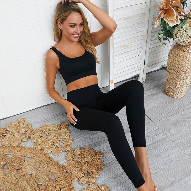 High waist seamless sportswear sets - FashionKila.com