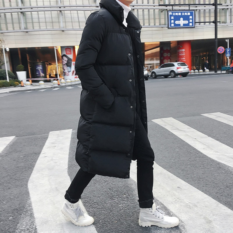 Long Down Jacket Coat Winter Solid Black Parkas Men - FashionKila.com
