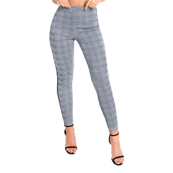 High waist plaid long pencil pants - FashionKila.com