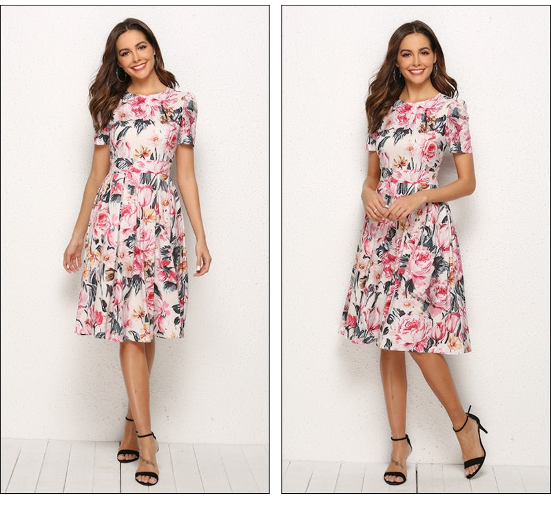 Floral Printed A-line Dress - FashionKila.com