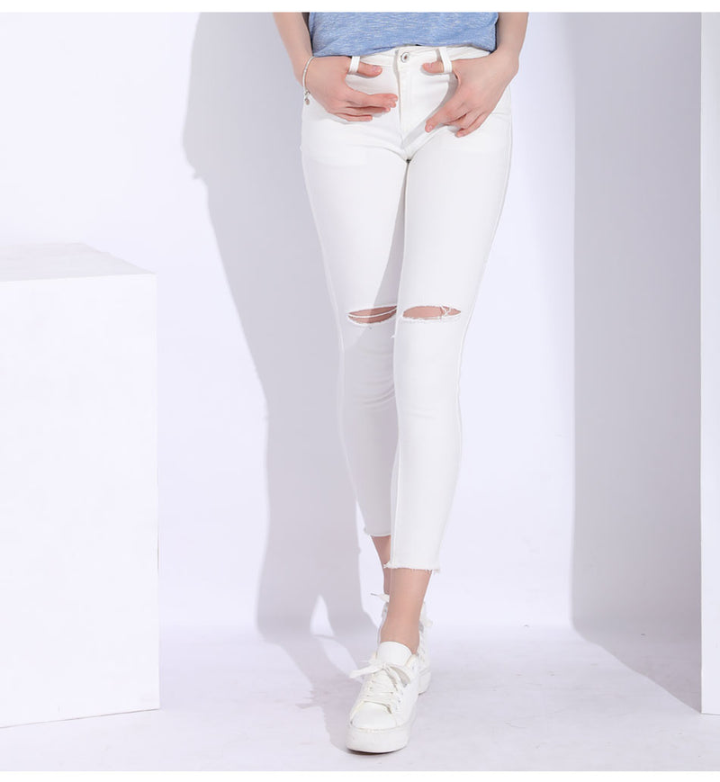 With holes slim pencil denim pants - FashionKila.com