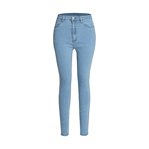 Full length high waisted slim jeans - FashionKila.com